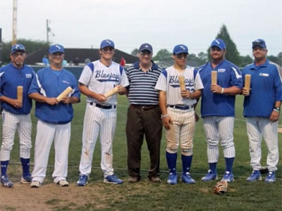 Baseball players with Dugout Mugs