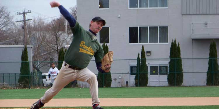 Dave Joseph pitching for the Brockton A's