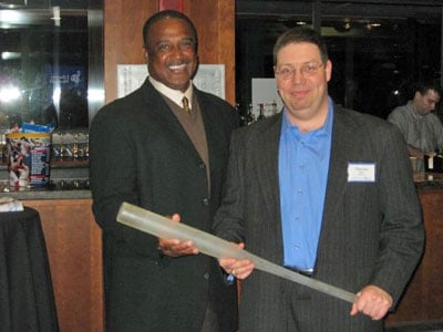 Jim Rice with a fan and glass baseball bat