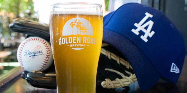 Golden Road Brewing Glass with Dodgers Cap