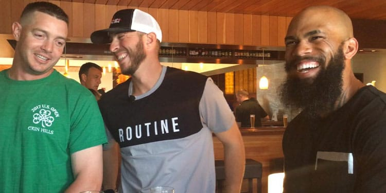 Eric Thames, Oliver Drake and Corey Knebel with Beerded Brewers Beer