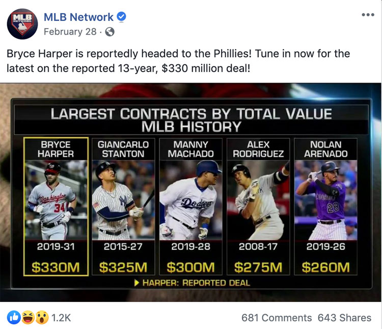 MLB Contract Signings on FacebookMLB Contract Signings on Facebook