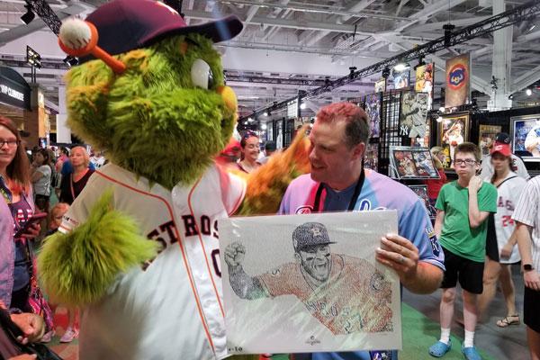 Dan Duffy with Astros Mascot and Jose Altuve