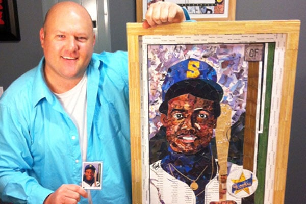 Artist Tim Carroll with Ken Griffey, Jr. Baseball Card Art