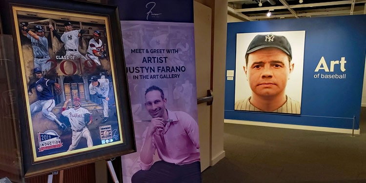 Jusytn Farano at the Art of Baseball Hall of Fame Gallery
