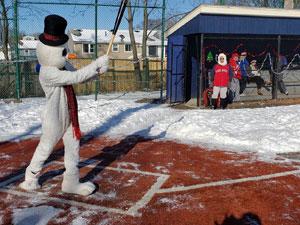 Frosty the Snowman at Bat at Winterball