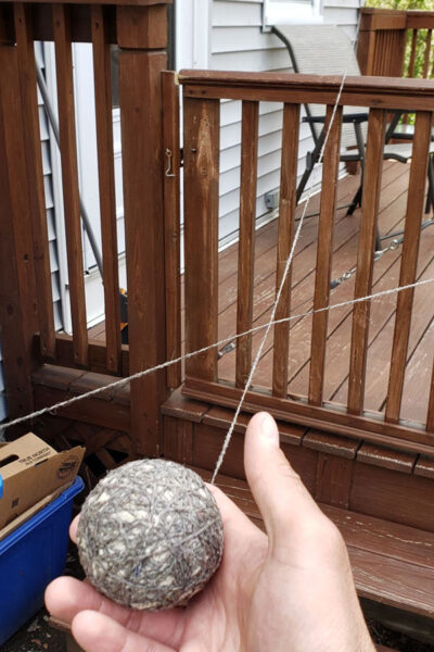 Baseball Yarn Wrapped Around a House