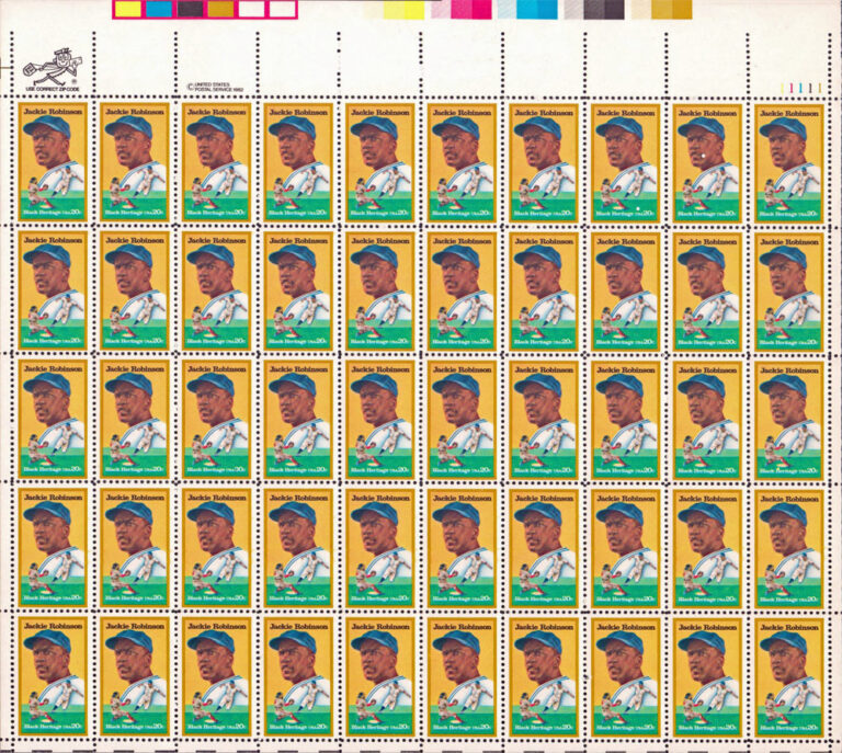 Jackie Robinson, 1982 U.S. Postage Stamps Sheet