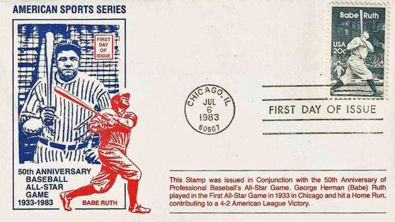 Babe Ruth, 1983 U.S. Postage Stamp FDC