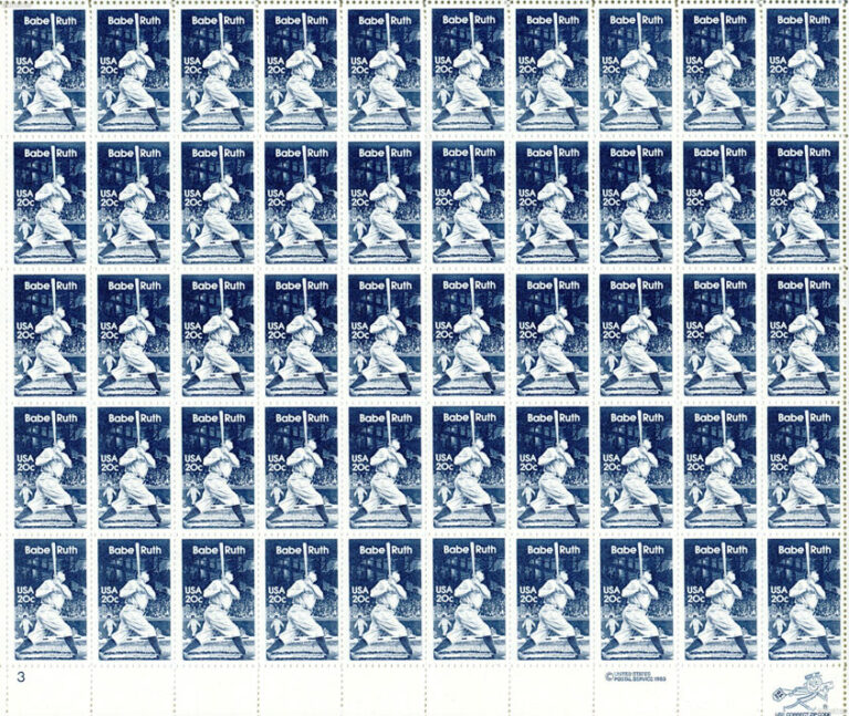 Babe Ruth, 1983 U.S. Postage Stamps Sheet