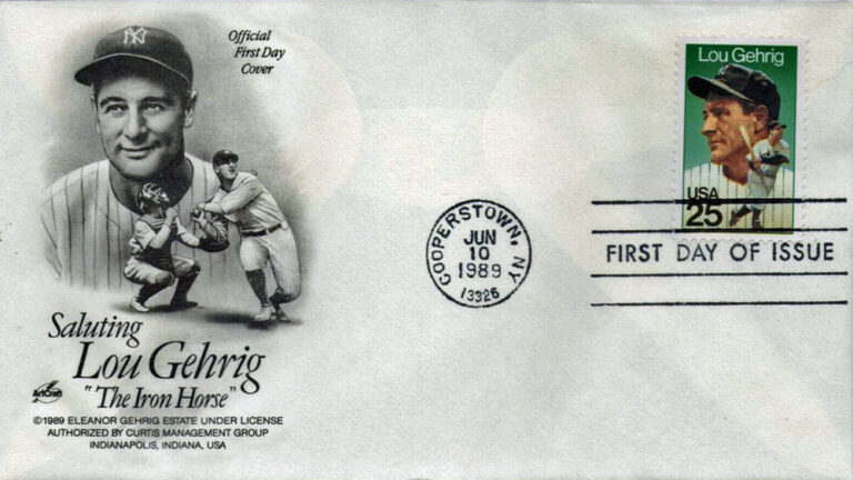 Lou Gehrig, 1989 U.S. Postage Stamp First Day Cover