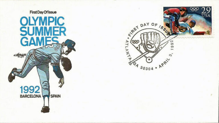 Baseball, 1992 Olympic Summer Games, U.S. Postage Stamp FDC