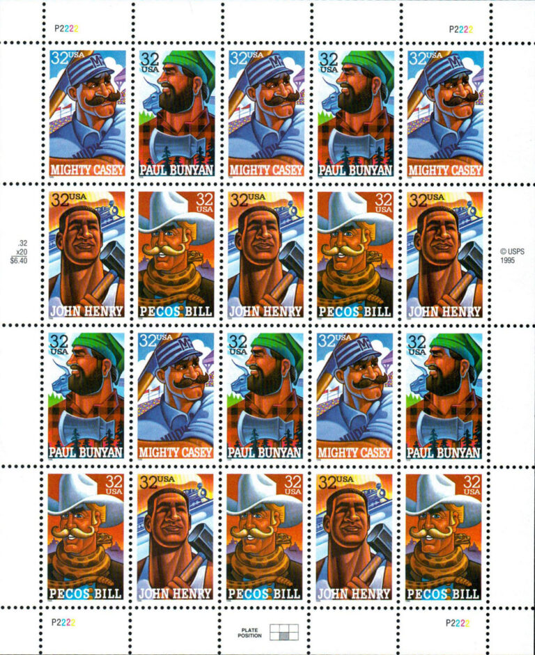 Folk Heroes, U.S. Postage Stamps Sheet