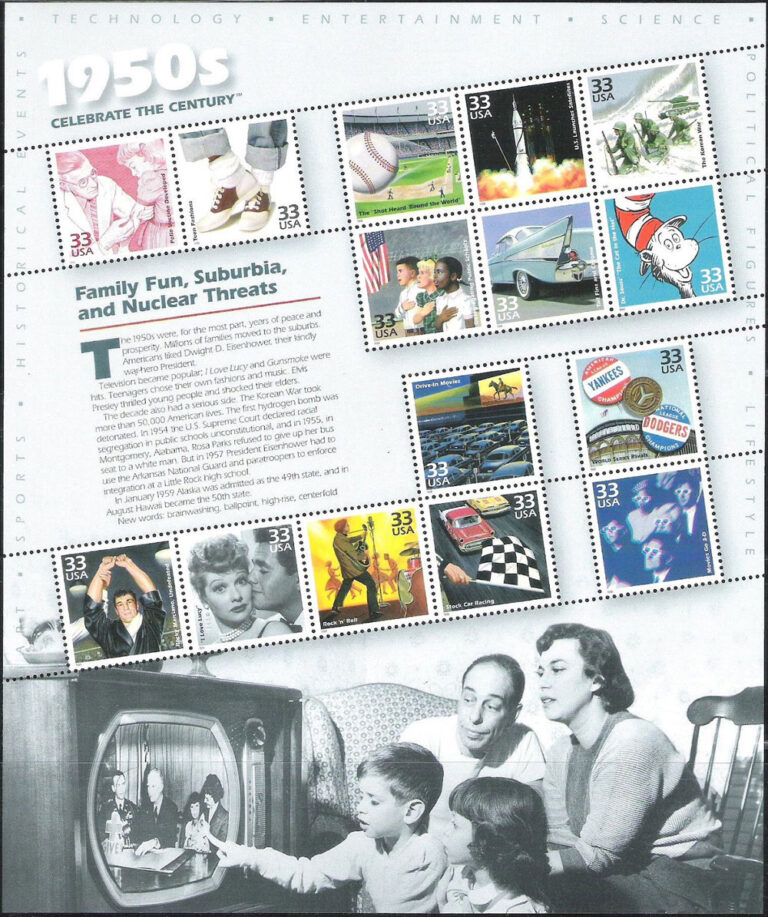 Celebrate the Centuries (1950s), U.S. Postage Stamp Sheet