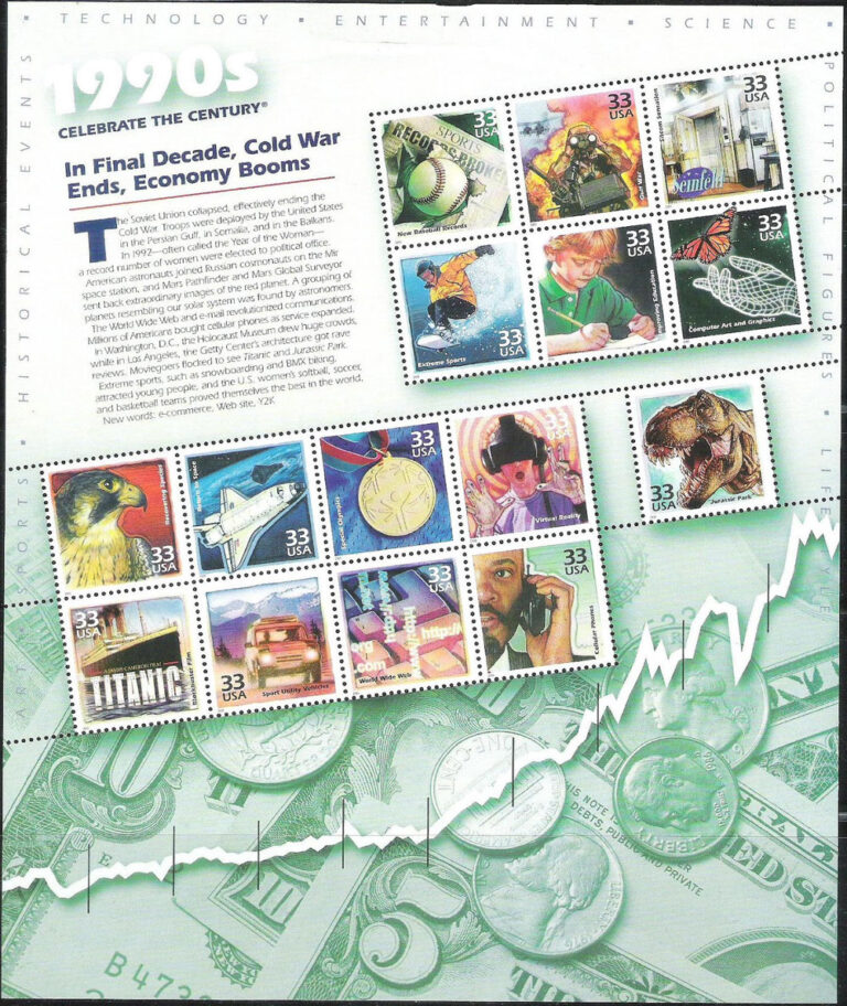 Celebrate the Centuries (1990s), U.S. Postage Stamp Sheet
