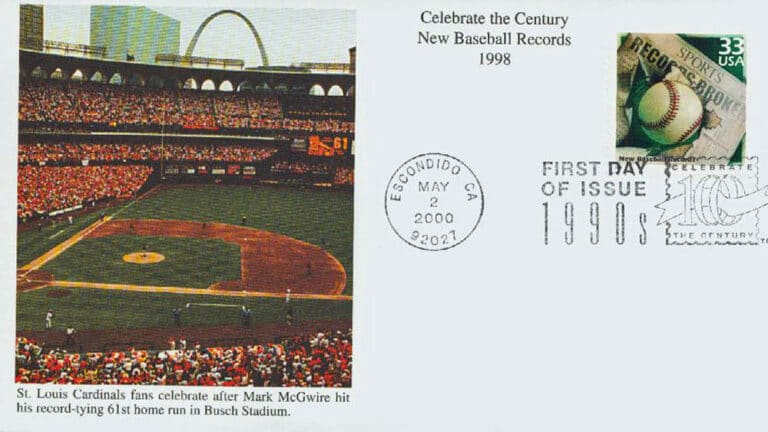 New Baseball Records, Celebrate the Century U.S. Postage Stamp FDC
