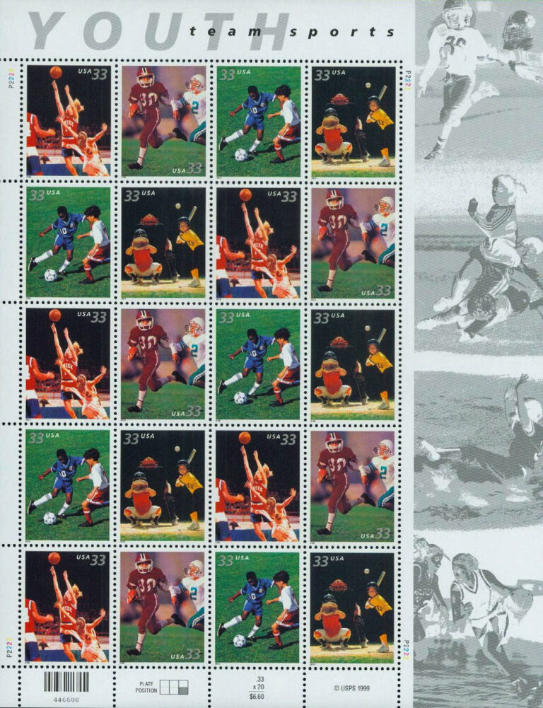 Youth Team Sports U.S. Postage Stamps Sheet