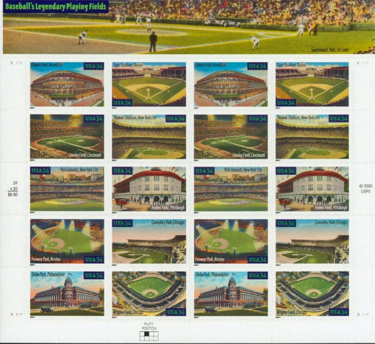 Legendary Playing Fields, U.S. Postage Stamps Sheet