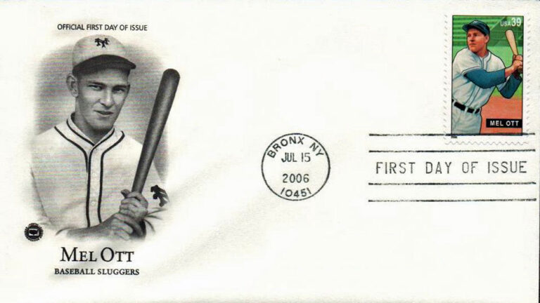 Mel Ott, Baseball Sluggers, U.S. Postage Stamp FDC