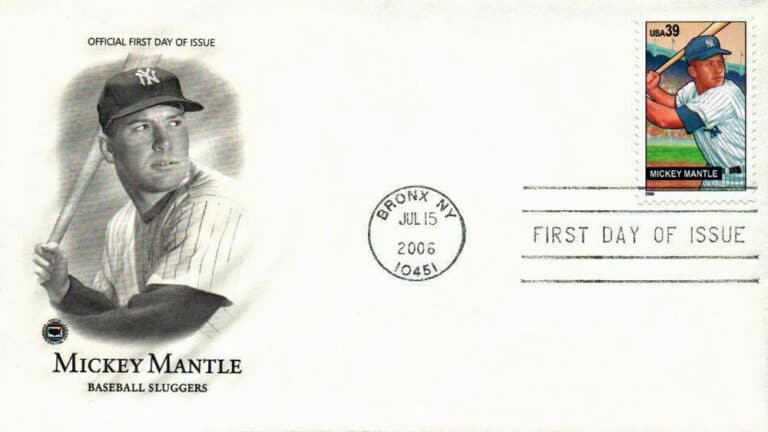 Mickey Mantle, Baseball Sluggers, U.S. Postage Stamp FDC