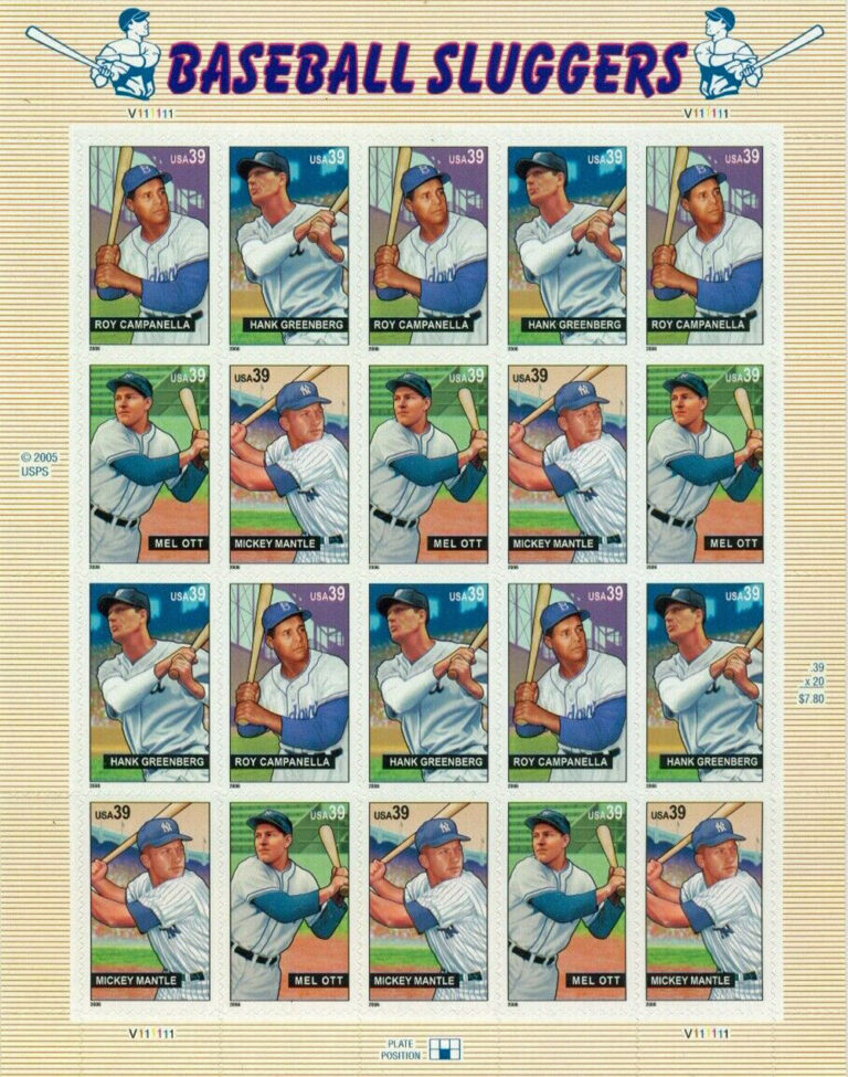 Baseball Sluggers, U.S. Postage Stamps Sheet
