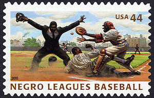 Negro Leagues Baseball, U.S. Postage Stamp, Play at the Plate – 44¢