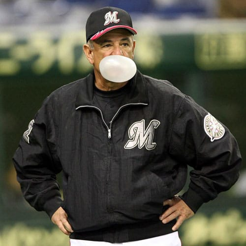 Manager Bobby Valentine of the Chiba Lotte Marines