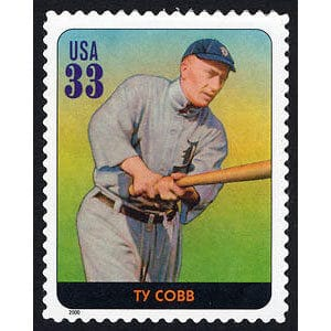 Ty Cobb, Legends of Baseball U.S. Postage Stamp – 33¢