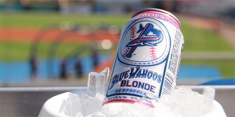 Blue Wahoos Blonde Beer in a Bucket