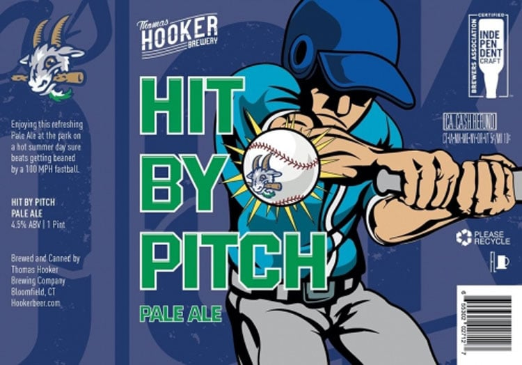 Thomas Hooker Brewery, Hit By Pitch Pale Ale label