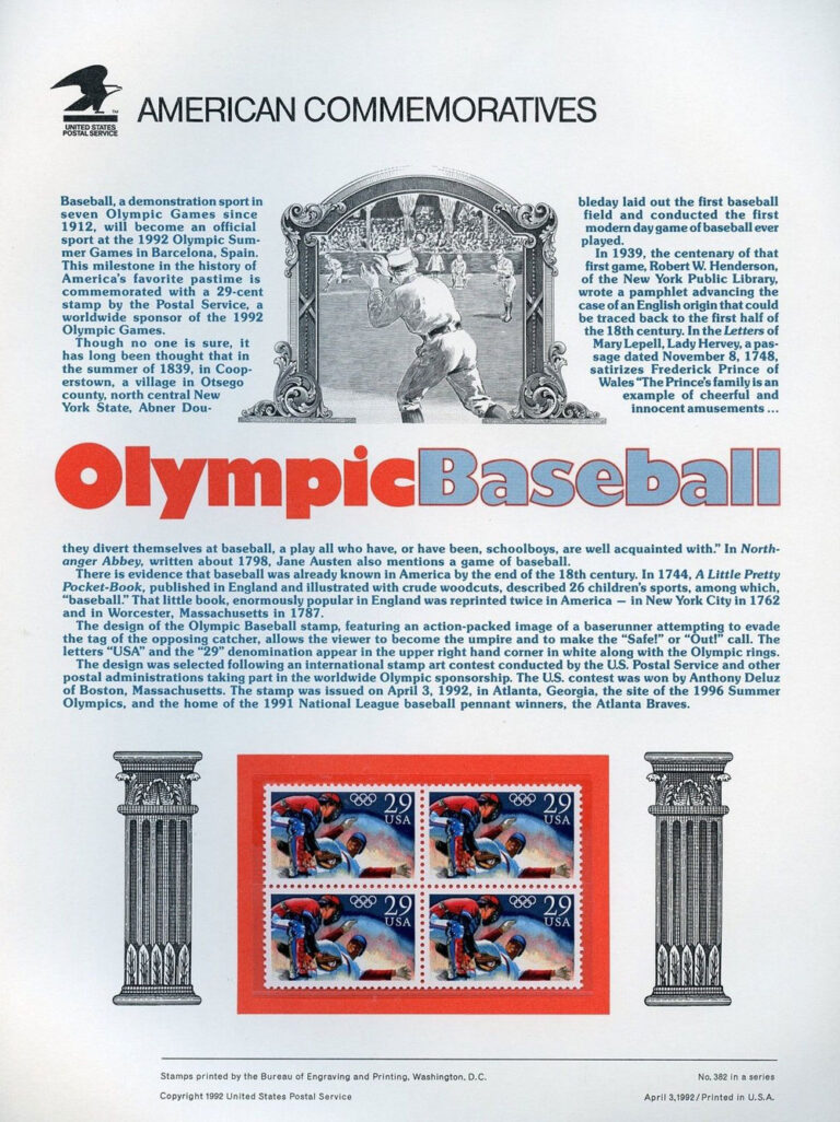 1992 Olympic Baseball American Commemoratives Stamps