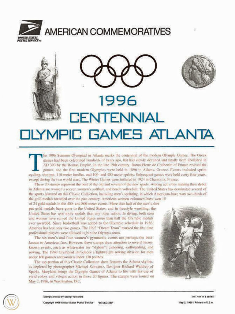 1996 Centennial Olympic Games Atlanta American Commemoratives Stamps