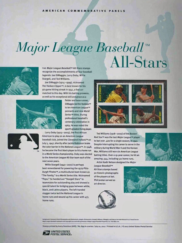 MLB All-Stars American Commemorative Panels of Stamps