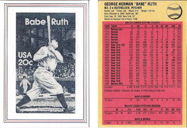 USPS Babe Ruth Postage Stamp Baseball Card