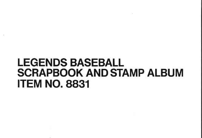 Legends Baseball Scrapbook and Stamp Album Item No. 8831