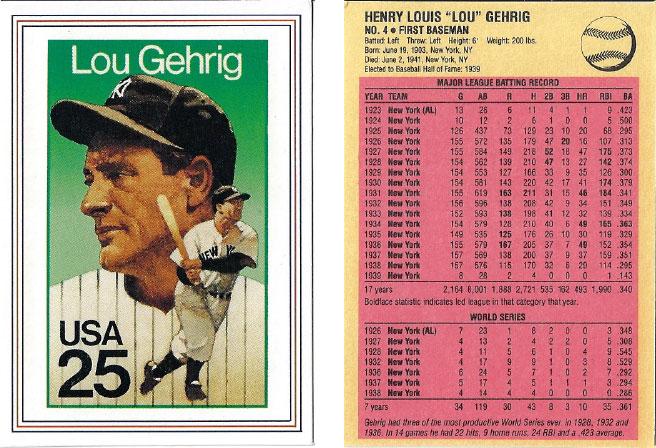 USPS Lou Gehrig Postage Stamp Baseball Card