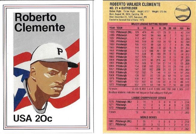 USPS Roberto Clemente Postage Stamp Baseball Card