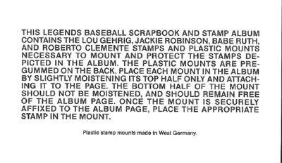 Legends Baseball Scrapbook Instruction Slip