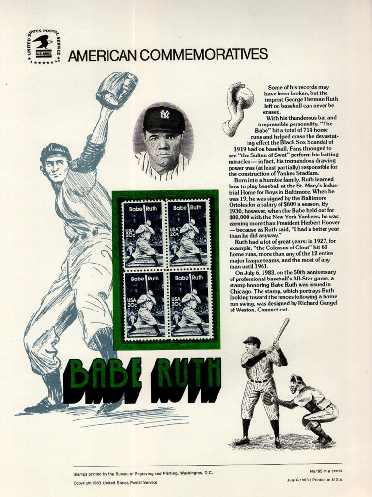 Babe Ruth American Commemoratives Stamps
