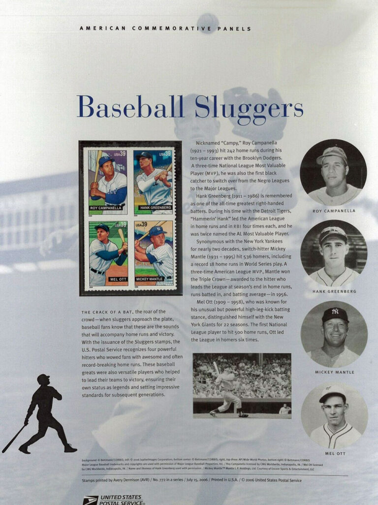 Baseball Sluggers American Commemorative Panels of Stamps