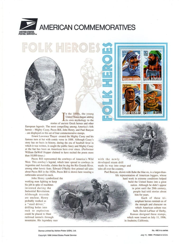 Folk Heroes American Commemoratives Stamps