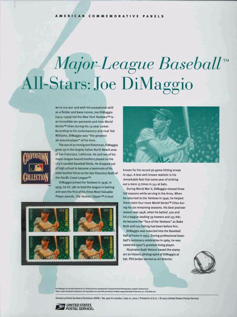 MLB All-Stars: Joe DiMaggio American Commemorative Panels of Stamps