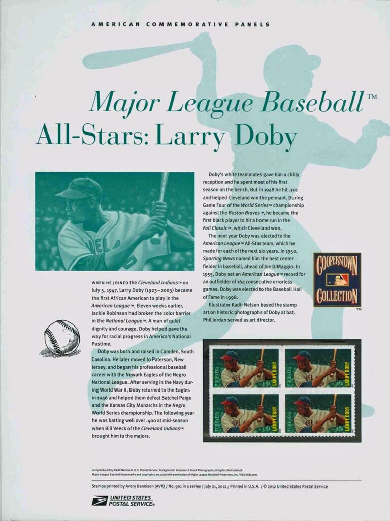MLB All-Stars: Larry Doby American Commemorative Panels of Stamps