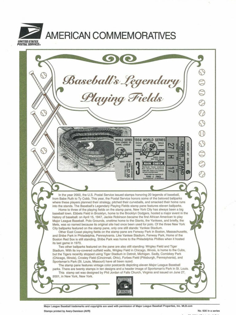 Baseball's Legendary Playing Fields American Commemoratives Stamps