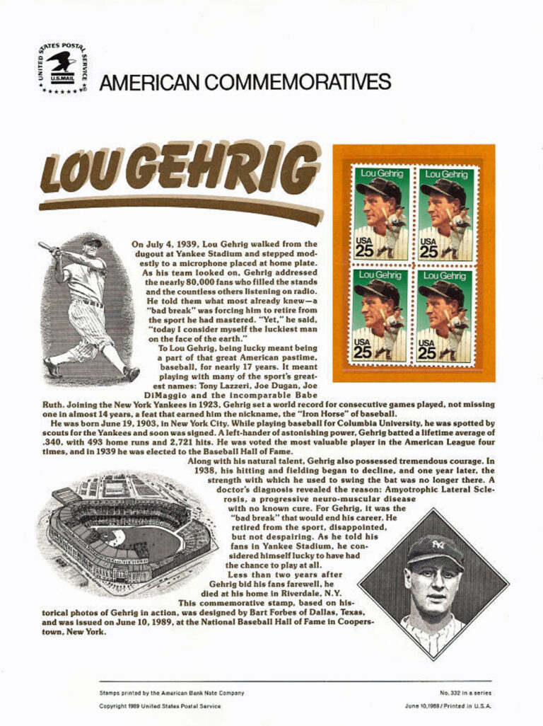 Lou Gehrig American Commemoratives Stamps