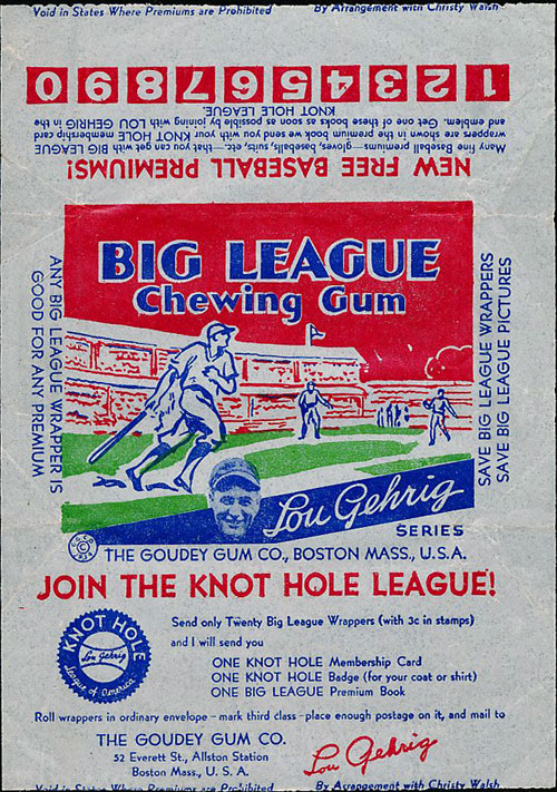 Lou Gehrig Big League Chewing Gum by Goudey Gum Co.
