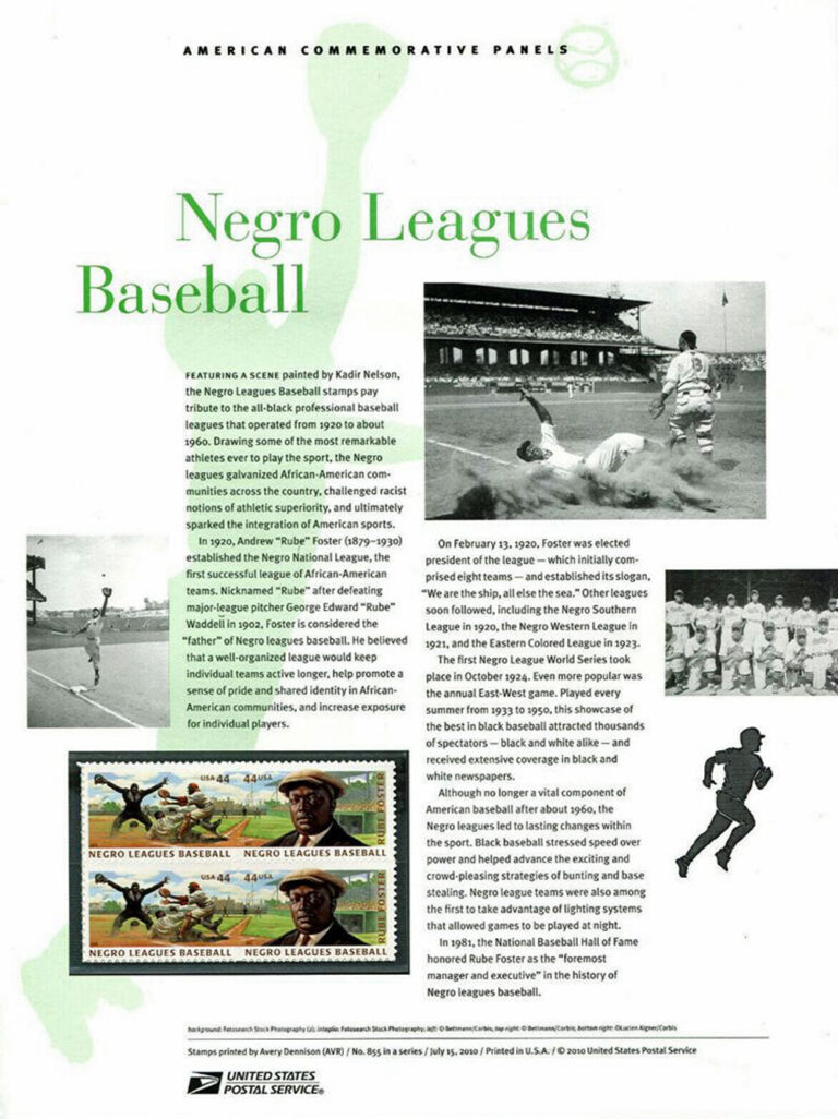 Negro League Baseball American Commemorative Panel of Stamps
