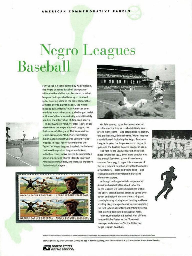 Negro League Baseball American Commemorative Panel of Stamps