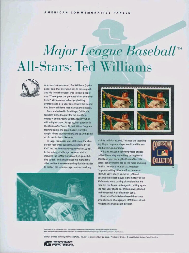 MLB All-Stars: Ted Williams American Commemorative Panels of Stamps