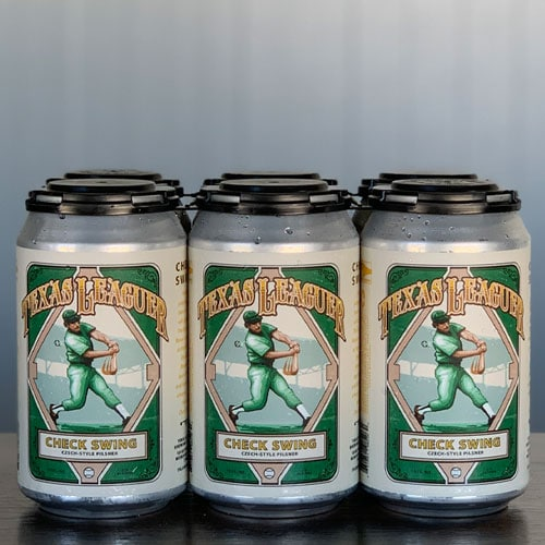 Check Swing Czech-Style Pilsner Cans - Texas Leaguer Brewing